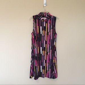 JBJulie Brown Lux Knit  Mod Geometric A-Line Dress